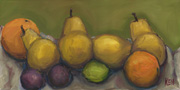 pears oranges plums lime painting