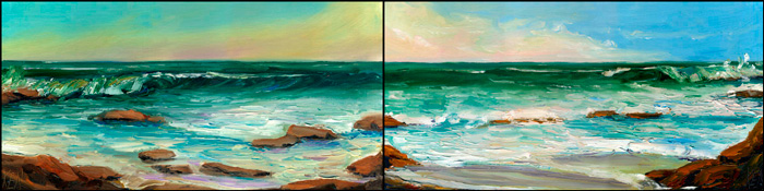 Winter Surf Seascape Oil Paintings