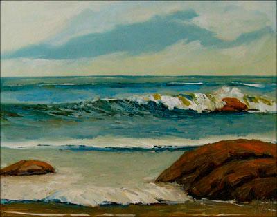 Shore Rocks Seascape Oil Painting