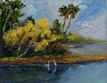 Florida River Bank with Cranes