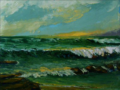 Pacific Sunset Seascape Oil Painting