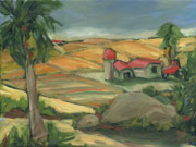 Farm Hills Oil Painting