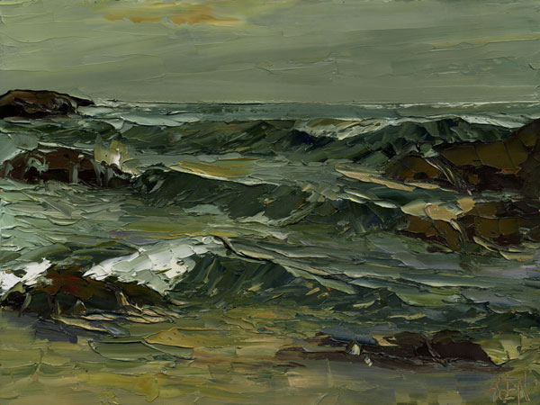Rolling Set Waves Seascape Painting