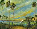 yellow palms sailboat wave