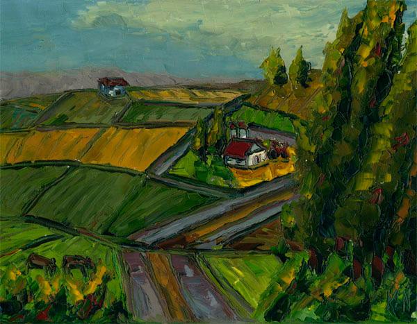 landscape oil painting western farm hills