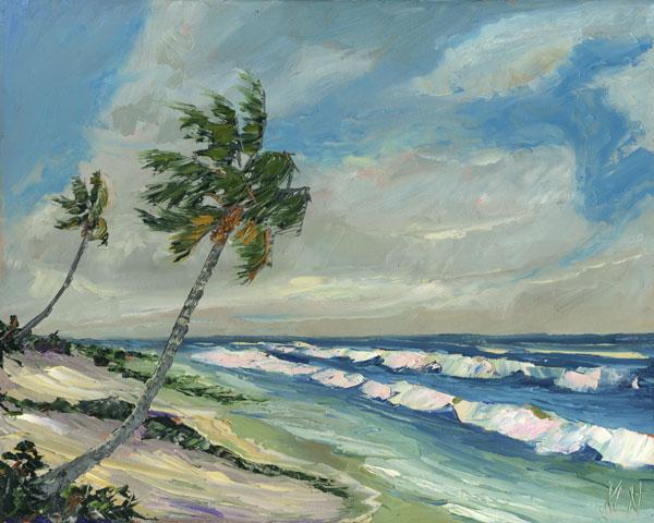Sand Mounds Florida Highwaymen Bob Ross Style Seascape Oil Painting Ken