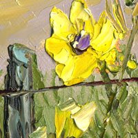 sunflower on a fence painting