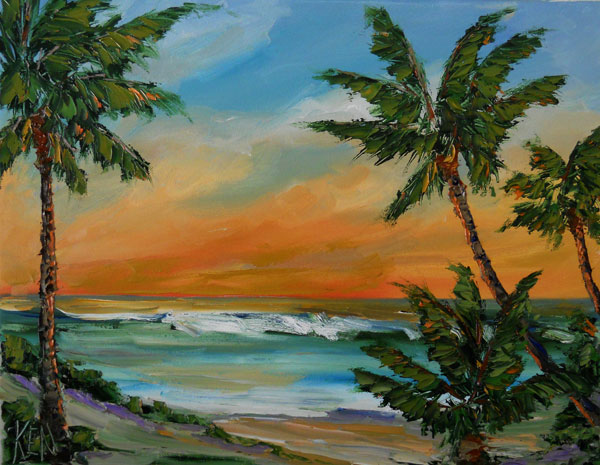 orange palms seascape oil painting