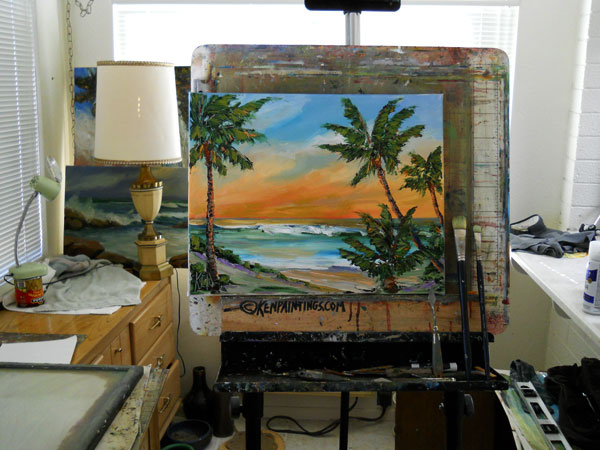 orange palms seascape oil painting in studio