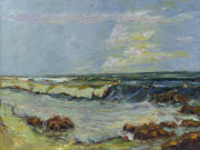 rocky shore oil painting