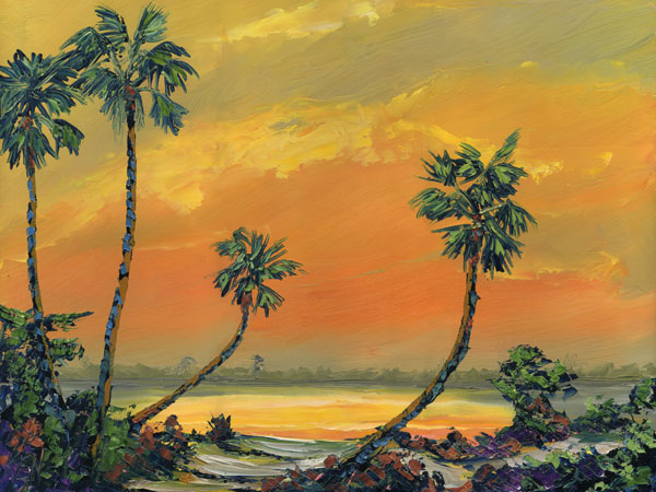 Orange Haze Tropical Beach Art