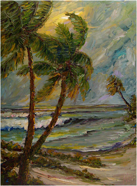 Twin Palms Seascape Oil Painting