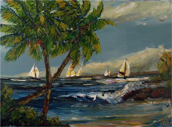 Sail Jam Original Seascape Sailboat Oil Painting