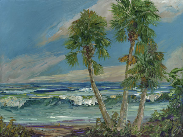 Beach Palms Seascape Oil Painting