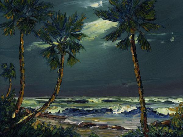 Seascape Oil Painting Moon Tide