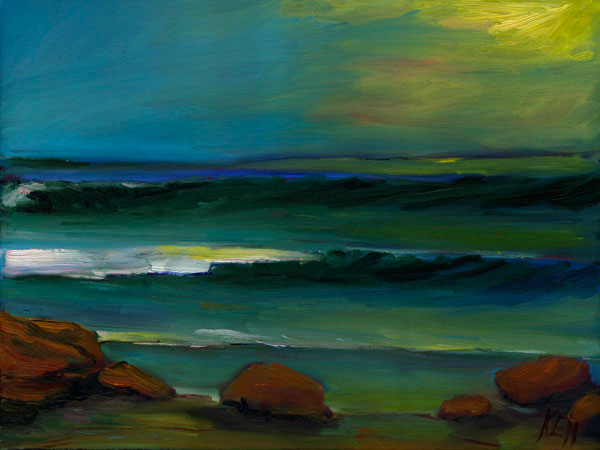 Glassy Surf Seascape Oil Painting