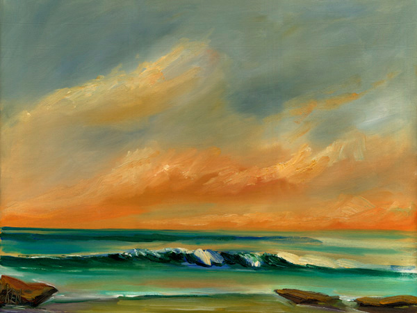 Summer Surf Seascape Oil Painting