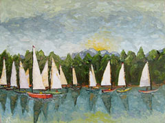 sailboats oil painting