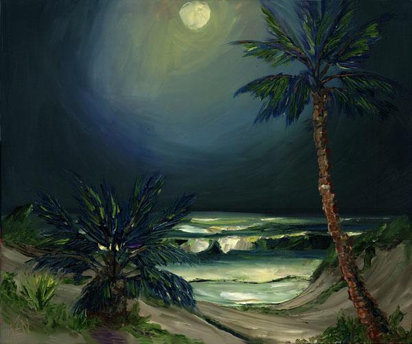 Midnight Surf Ocean Painting