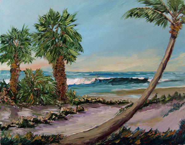 Ocean Palms Seascape Oil Painting