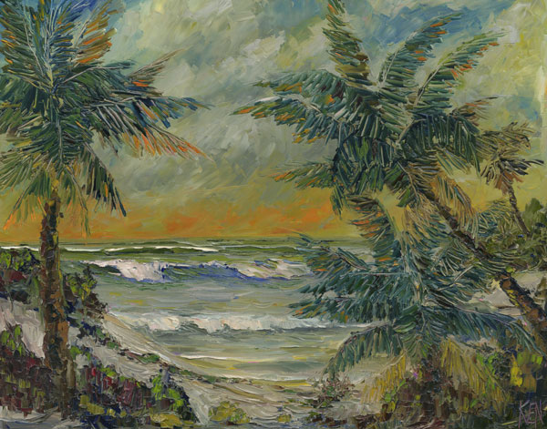 florida highwayment style oil painting