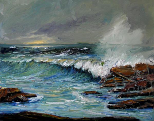 ocean storm surf art painting