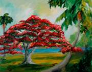 poincianna tree oil painting