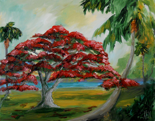 POINCIANA TREE OIL PAINTING