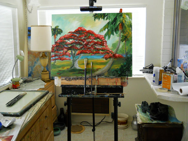 poincianna tree painting in kenneth john studio