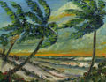 SandSpurs Palm Tree Seascape Painting florida art