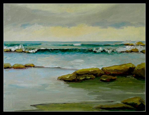 Ocean Channel Seascape Oil Painting
