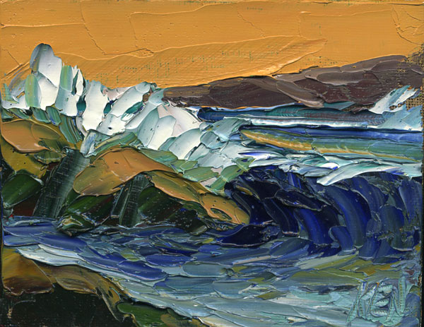 Seascape Orange Rocks Painting