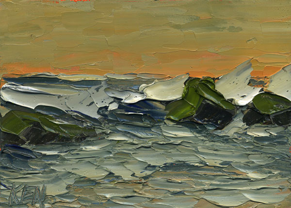 ORANGE FLASH Seascape Ocean Painting