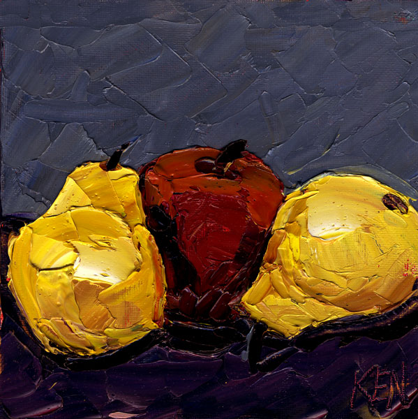 pears and apple painting