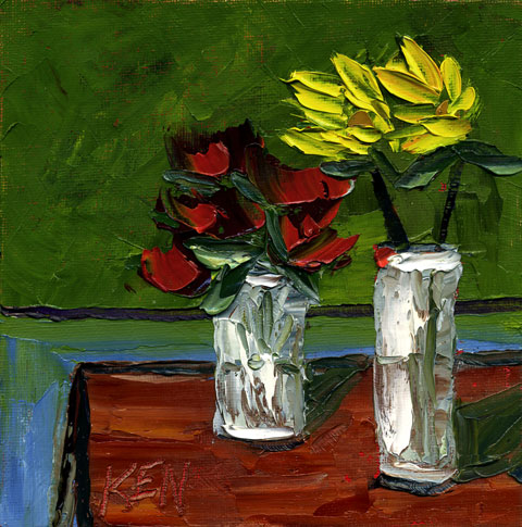 Sister Buds Flower Still LIfe Painting