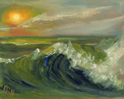 sun wave seascape oil painting