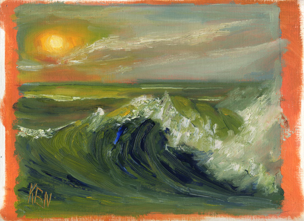 sun waves seascape oil painting