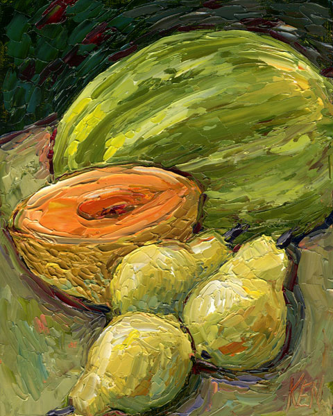 watermelon cantalope pears oil painting