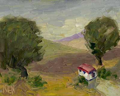 farm shack landscape oil painting
