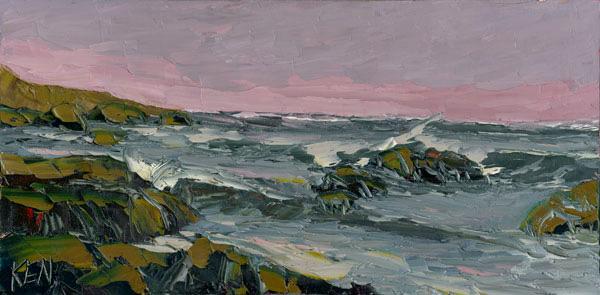 violet sky seascape painting