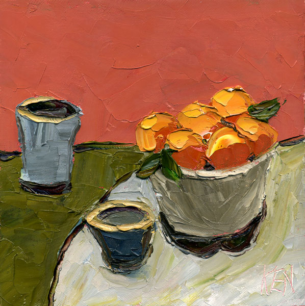 ORange Bowl Oil Still LIfe Painting