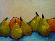 pears oranges still life fruit oil painting