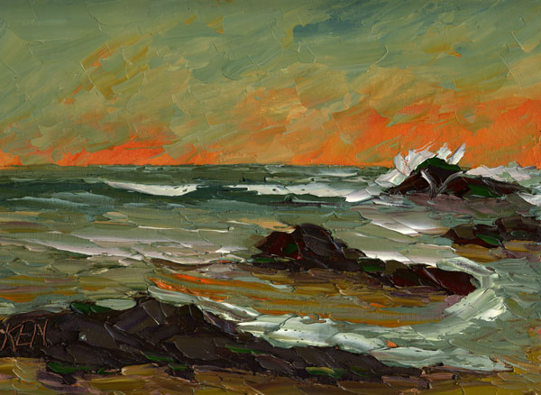 Flaming Sky Seascape Painting