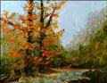fall autumn red leaf landscape oil painting