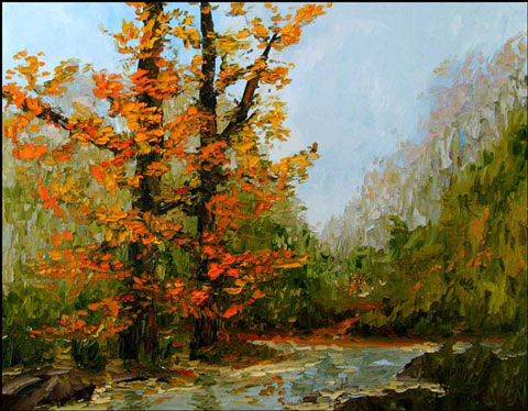 Landscape Fall Autumn Red Leaves Oil Painting
