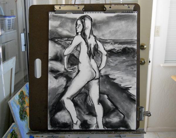 nude woman seascape studio