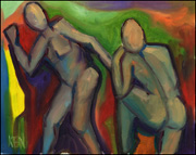 fauvism style figure oil painting