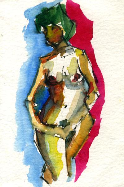 nude woman watercolor life drawing
