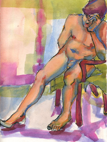man in chair watercolor painting