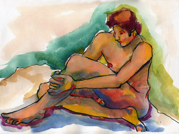 Male on Floor Watercolor Painting